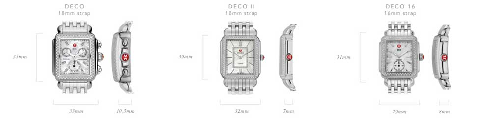 Michele Deco Watch Collection Size Guide