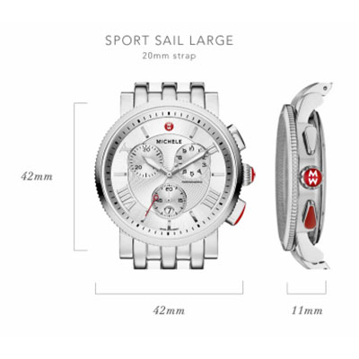 Michele Sport Sail Large Watch Case Size Guide