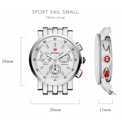 Michele Sport Sail Small Watch Case Size Guide